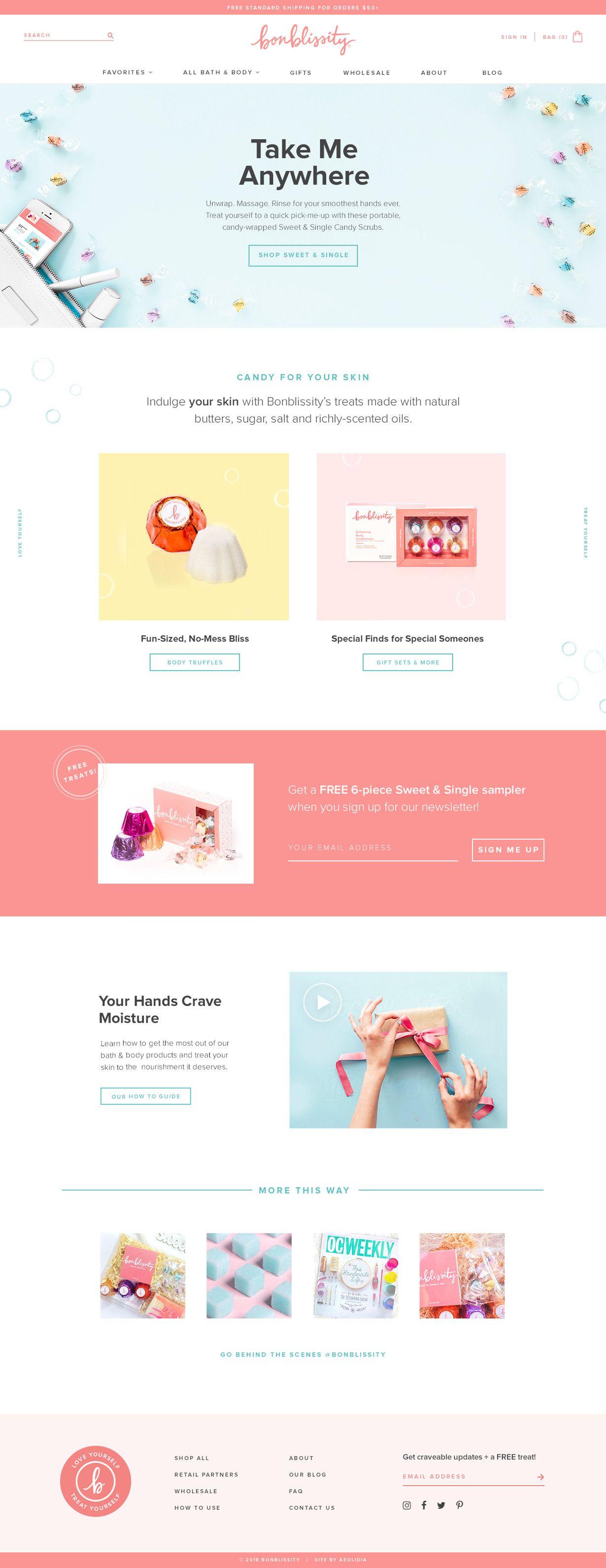 Bonblissity Shopify website design by Aeolidia. Looks nice. Website, newsletter...