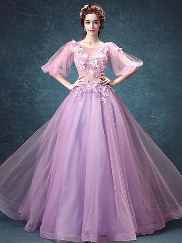 42a40fb53856e1 Fancy Fresh Flowers Beading Bell Sleeves Zipper-up Round Neck Ball Gown  Evening Dress