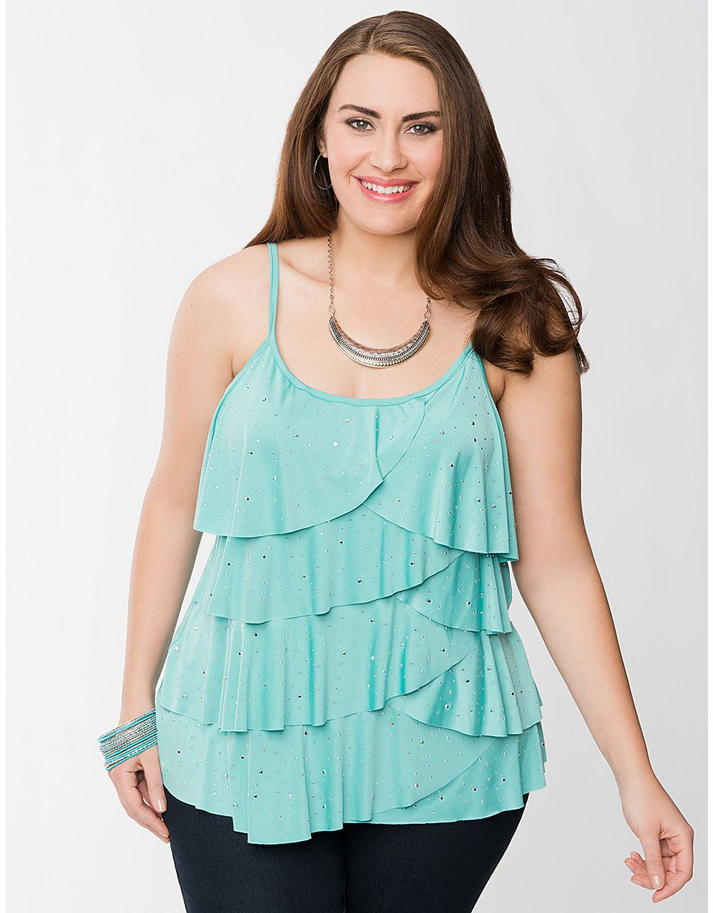 Studded Layered Cami by Lane Bryant | Lane Bryant | Tops Tees Tanks ...