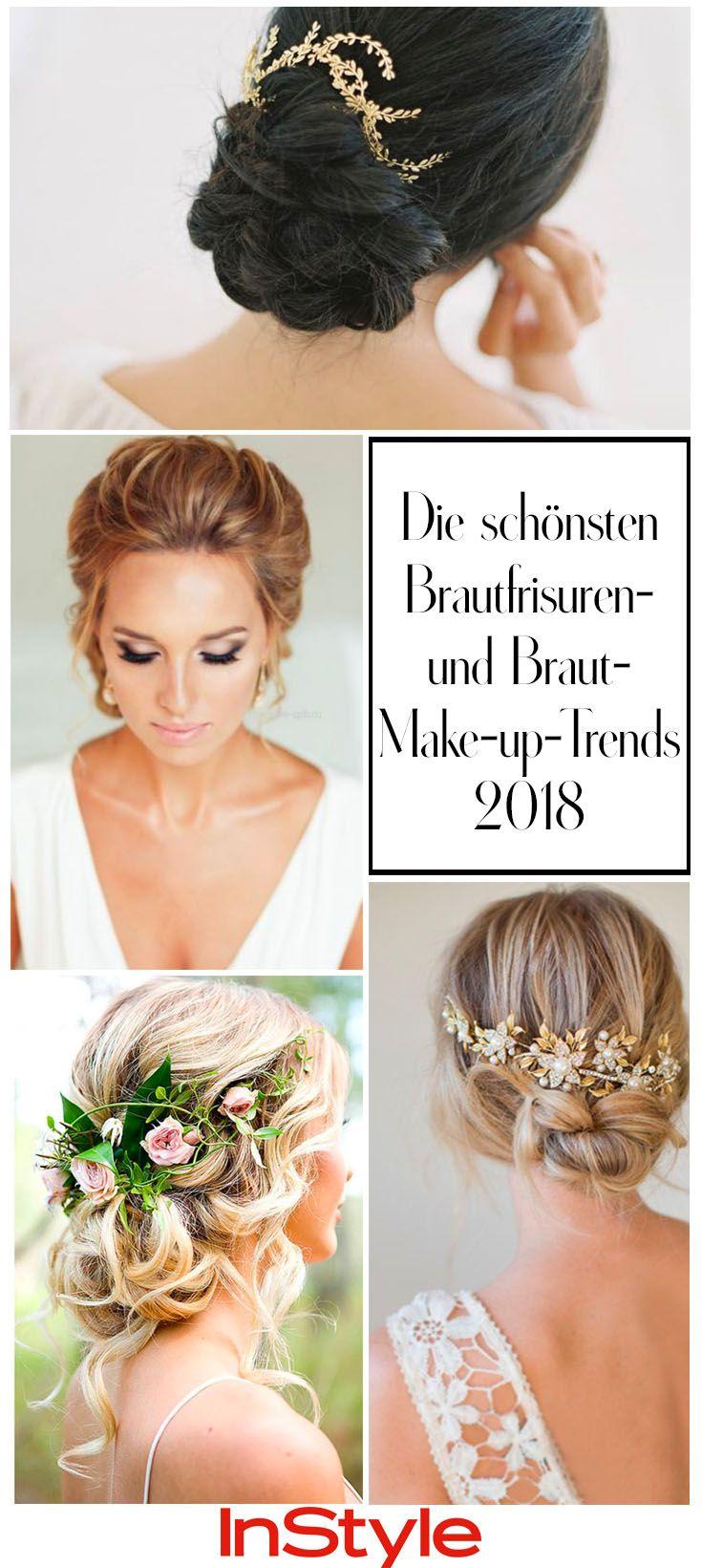 Die Schonsten Brautfrisuren Und Braut Make Up Trends 2018 Brautfrisur Braut Make Up Klassische Hochsteckfrisur