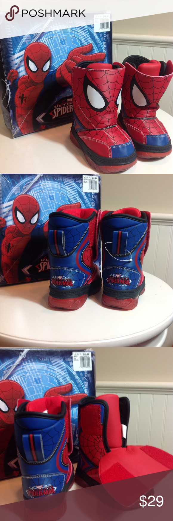 27649f3d17ce ... 🎁NWT Kids Spider-Man Light Up Boots! 5M Brand New with box!
