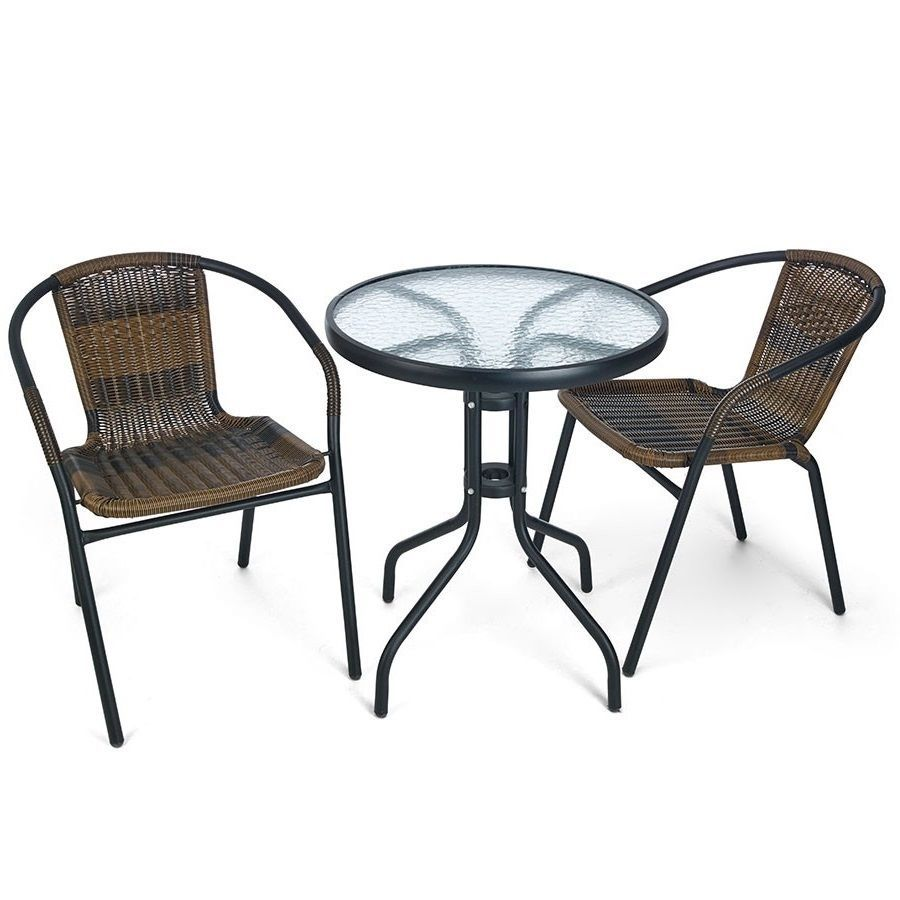Garden Bistro Set 2 Seater Wicker Steel Glass Patio Terrace Balcony Table Chairs