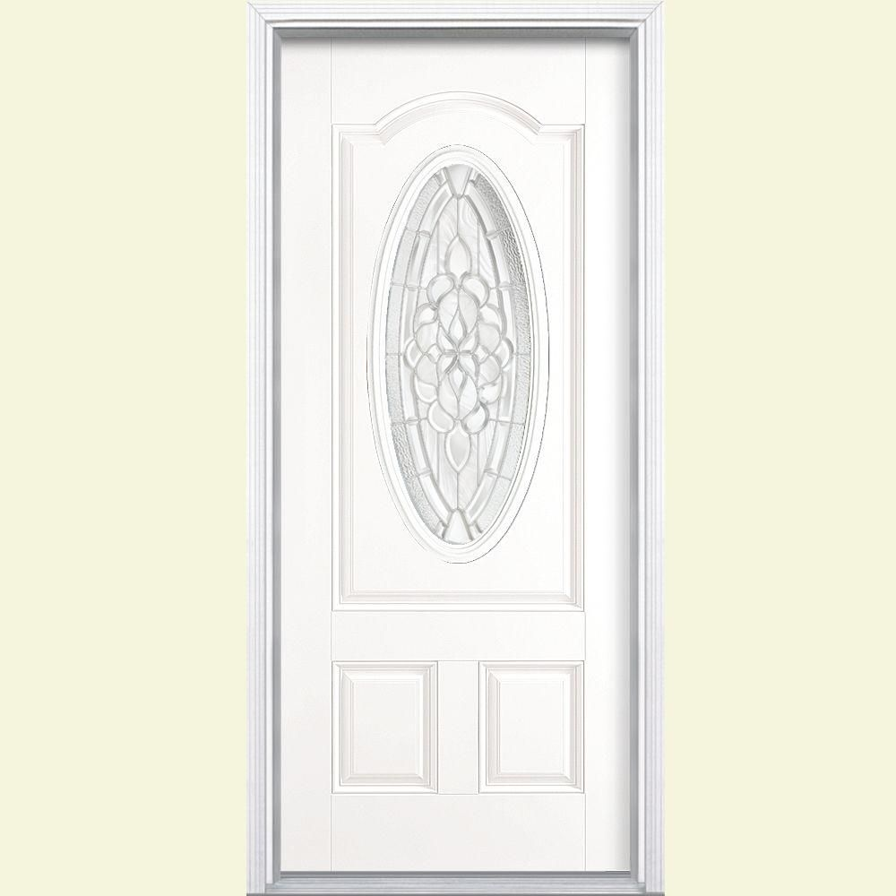 Masonite Oakville Three Quarter Oval Lite Painted Steel Entry Door