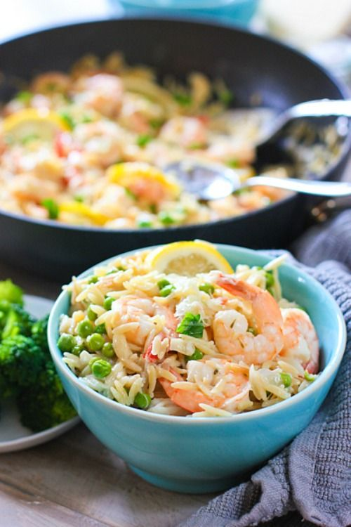 20 Minute One Pan Shrimp and Orzo Dinner