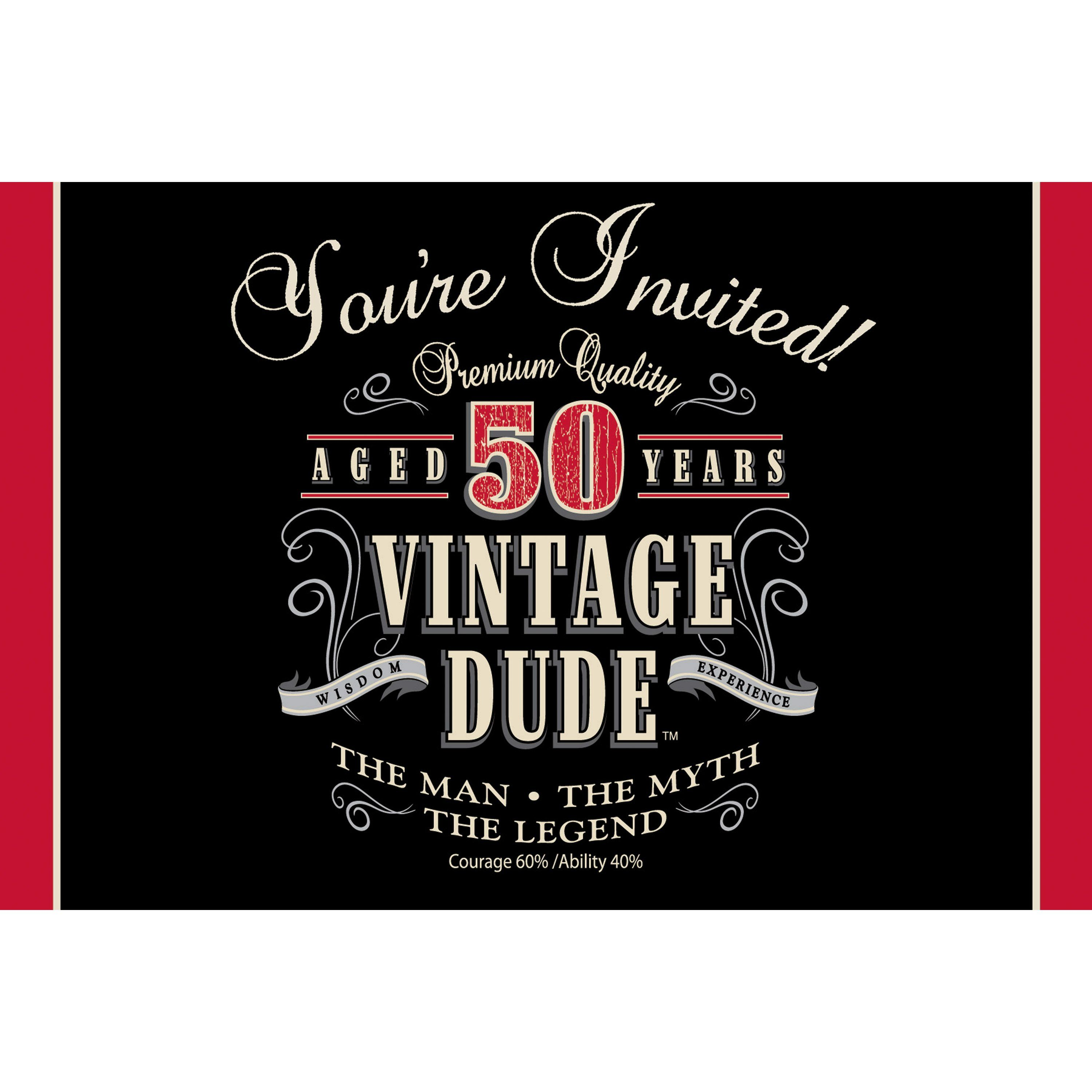 Vintage Dude Invitation 50th Case Of 48