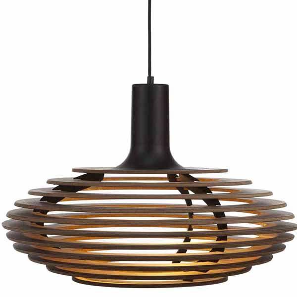 Bestel de grote design hanglamp van notenhout for Grote hanglamp eettafel