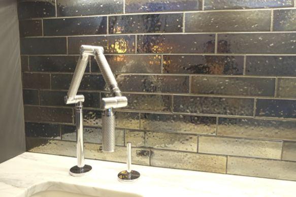 Office Kitchenette Tile Backsplash Artistic Tile S Kyoto Metallic Brick In Color Steel With Black Or Raven Grou Metallic Backsplash Backsplash Artistic Tile