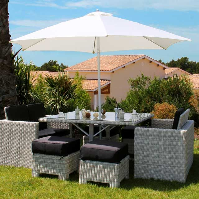 Ensemble Lunch Oceane 2 Canapes 4 Poufs 1 Table Castorama