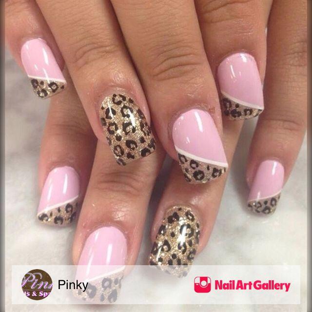 uñas rosa y dorado animal print | Diseño de uñas | Pinterest | Rosas ...