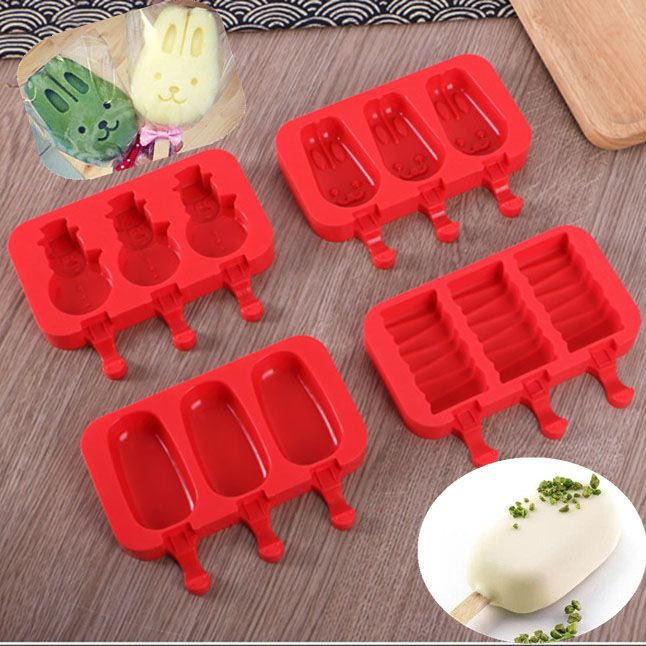Shape 3 Holes Ice Cream Mould Ice Cubes Tray Popsicle Molds Frozen Ice Lolly