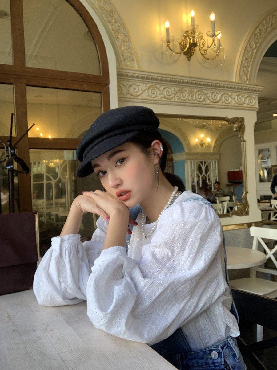 Balloon Sleeve Eyelet Accent Blouse   STYLENANDA   Ulzzang fashion, Korean  street fashion, Model poses photography
