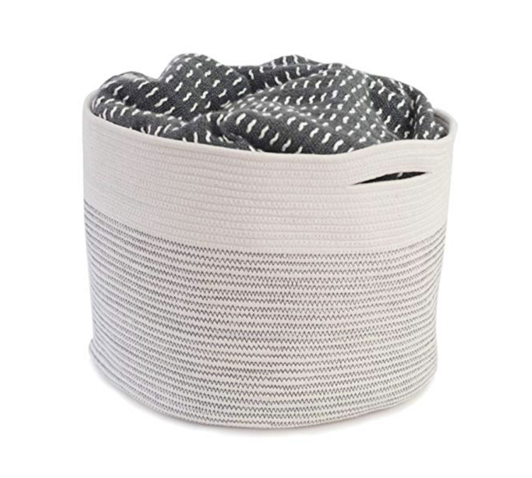 Beige Cotton Storage Basket Storage Baskets Basket Grey