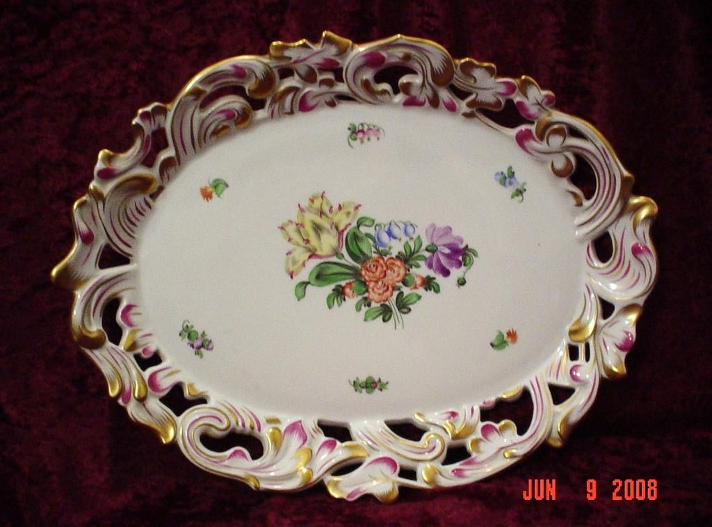 Large Herend Fine Porcelain Platter with Reticulated Sides. circa 1826