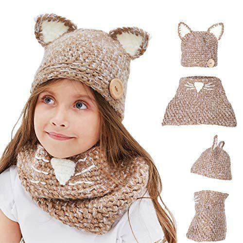 ec17d734a09 Enfants Casquette Manteau Tricot Capuche Cagoule Enfants Chapeau Hiver  Bonnet avec Écharpe Automne Tricot Chapeau Chaud