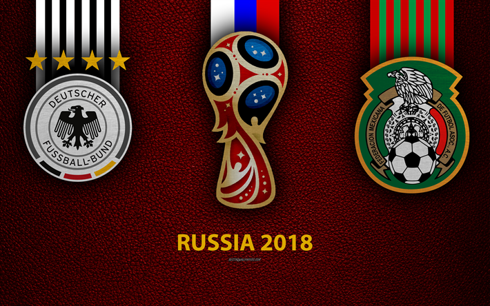 Download wallpapers Germany vs Mexico, 4k, football, logos