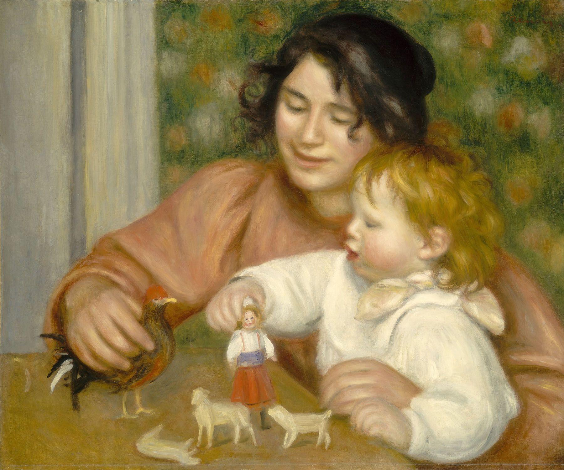 L'enfant et les jouets (Gabrielle et Jean, fils de Renoir),   huile sur toile (54,3 x 65,4 cm) d'Auguste Renoir, 1895/1896. Credit : Collection of Mr. and Mrs.  Paul Mellon, National Gallery of Art, Washington D.C.