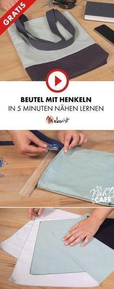 Bolsa de costura – bolsa de tela con asas y forro (patrón de costura libre)