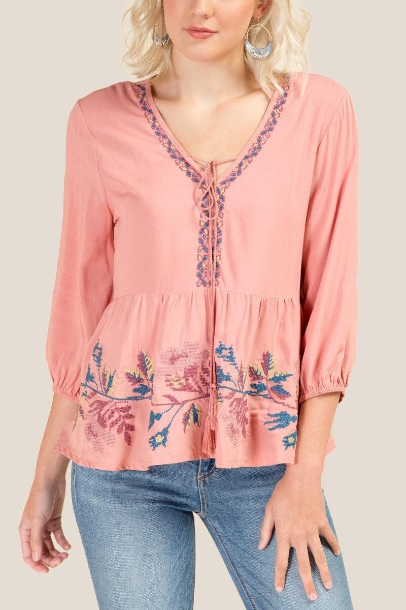 0e95bd72efdcd8 Haverly Embroidered Tassel Blouse