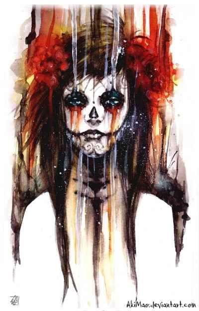 Day of the Dead Sugar Skull Girl Artwork   Beautiful