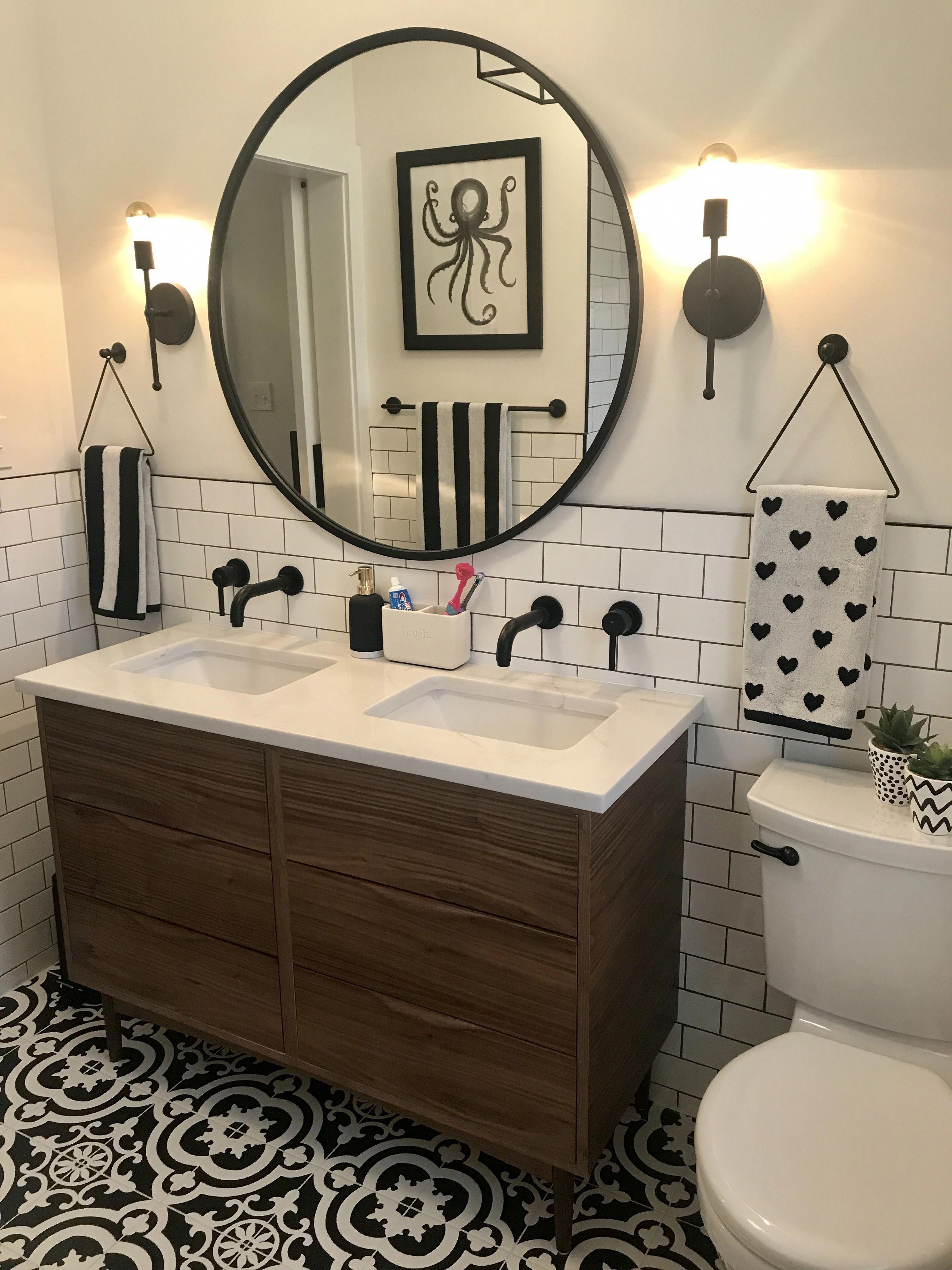 Custom Walnut Vanity Quartz Counter Lowe S Cementina Black And White Floor Subway Tile Large Round Mirr Bathroom Makeover Bathrooms Remodel Bathroom Design White walnut bathroom remodel