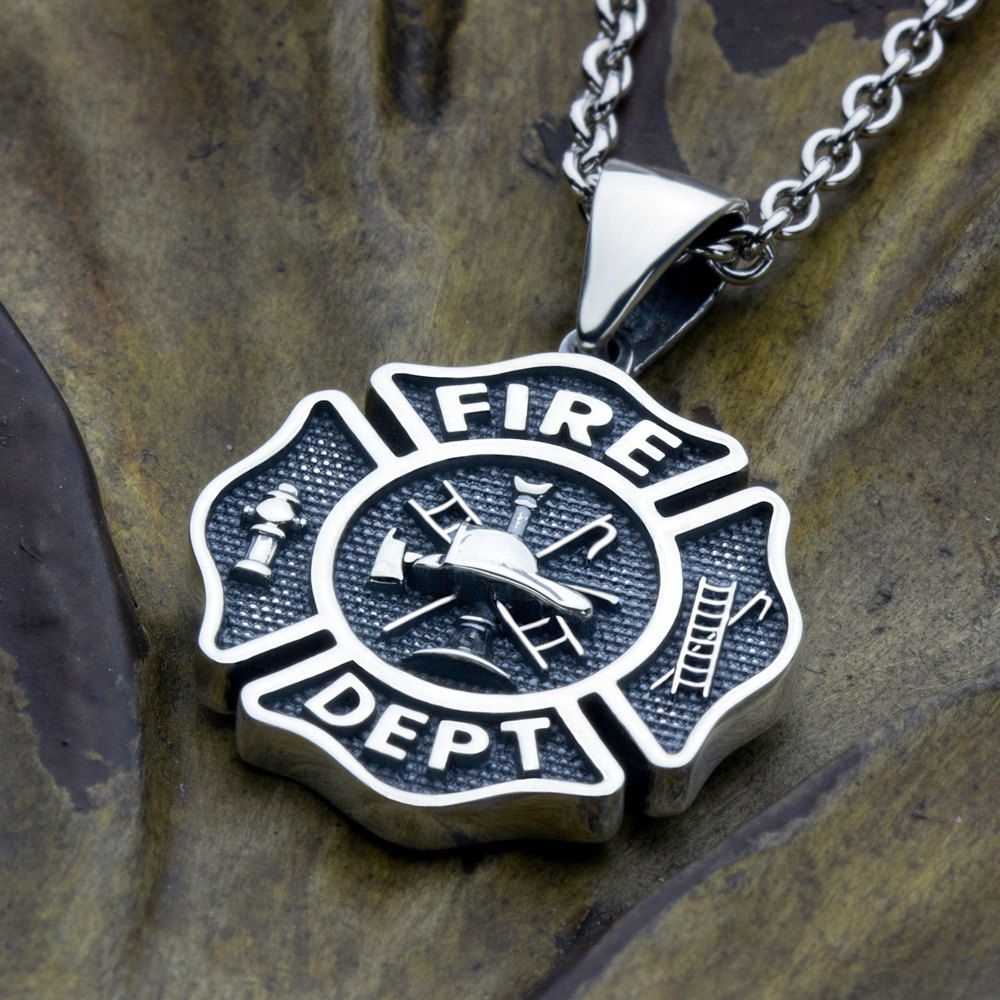 Fire Department Maltese Cross Necklace: Small Firefighter Fire Department Maltese Cross Sterling