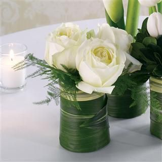 White Rose Tail Table Arrangement