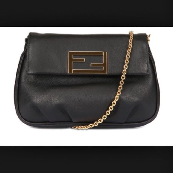Fendi Handbag Gorgeous Lightly used Fendi Fendista Bag. Black leather with Gold Hardware. Can be worn as a clutch, on your arm, cross body, chain is also removable. FENDI Bags
