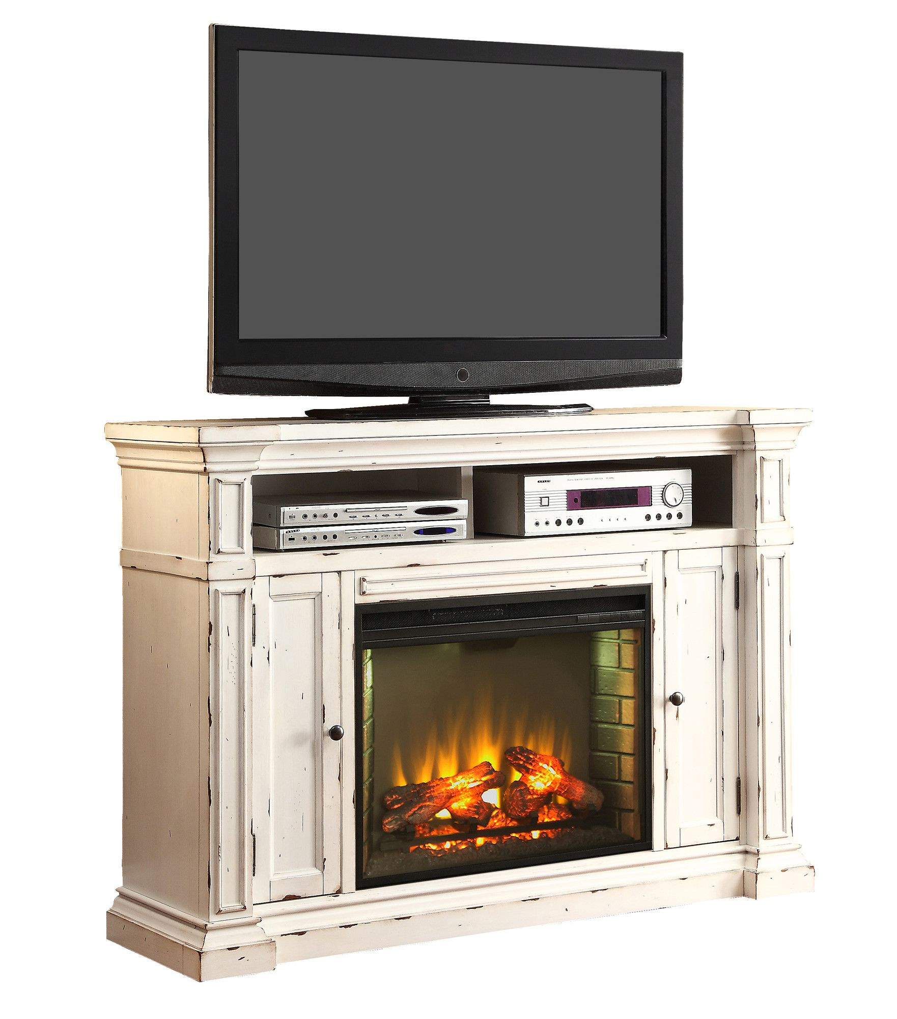 New Castle Tv Stand With Electric Fireplace Fireplace