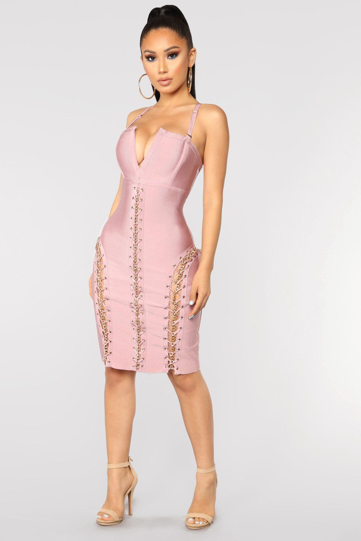 Hold It Together Bandage Dress Blush in 2020 Fashion