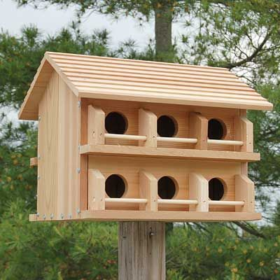 heath cedar purple martin house, round entrance holes at bestnest