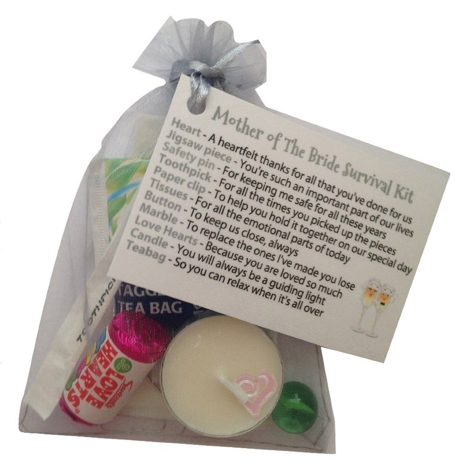 Mother of the bride survival kit in gray silver thank you gift