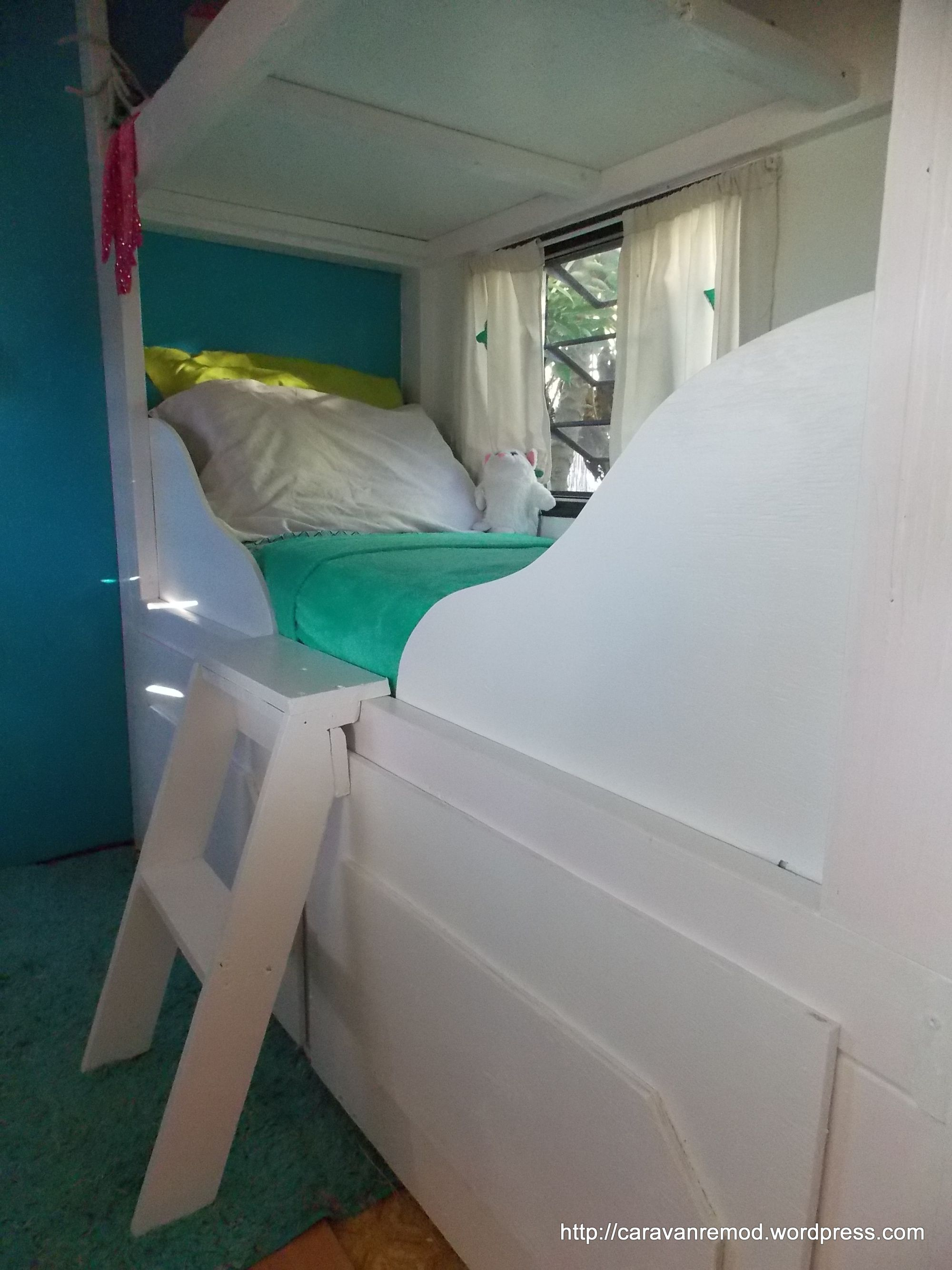 DIY Canopy Bunk Sleigh Bed in RV Sleigh beds, Bed, Diy