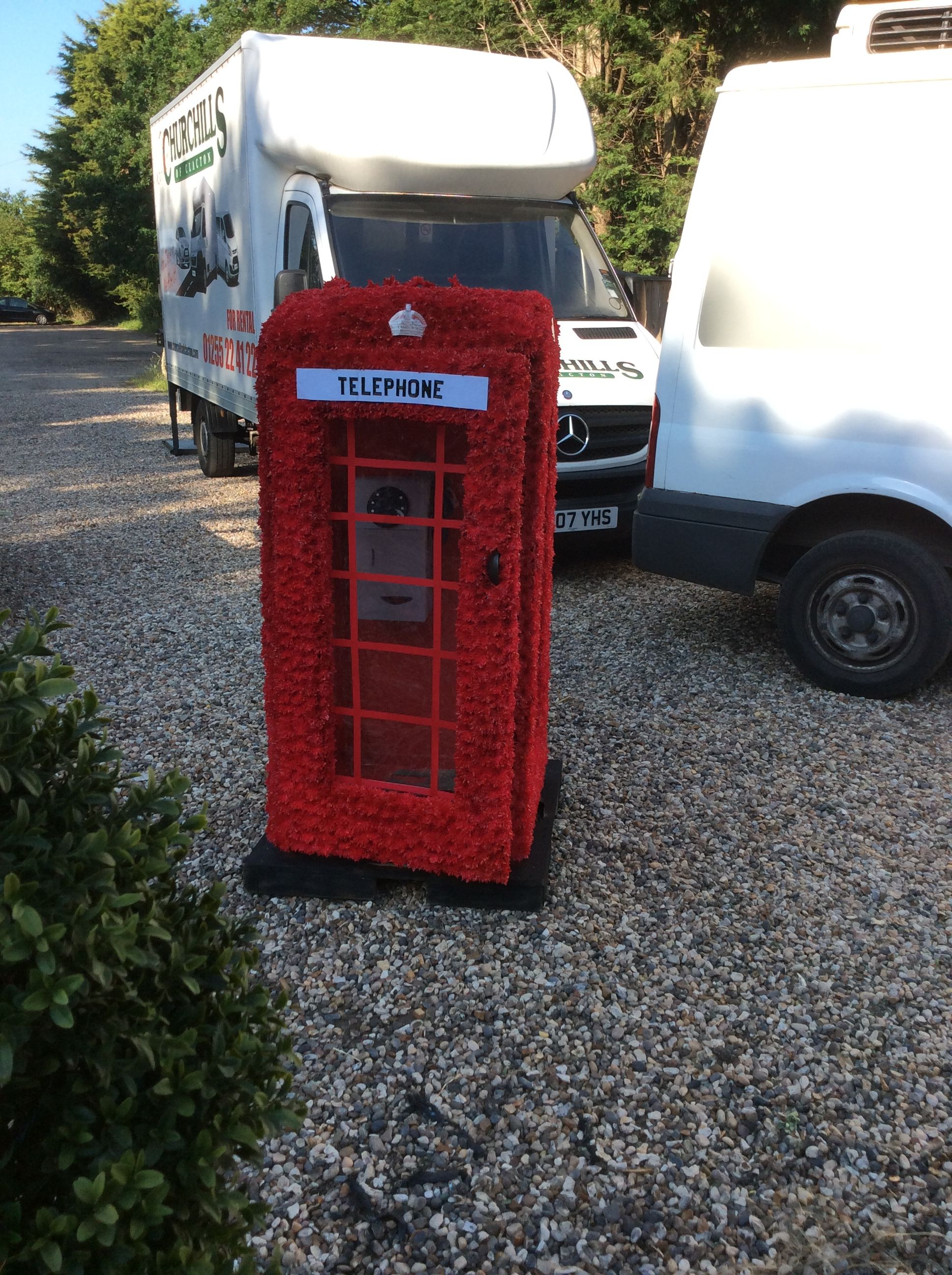 5ft Phone Box Flower Tribute Traveller Gypsy Funeral Flowers