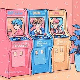 "Photo of ????? ???? (very short hiatus) on Instagram: ""BTS arcade corner! Choose your game? I tried drawing bts' 3 most colorful MVs in arcade style! #bts#fanart#btsfanart"""
