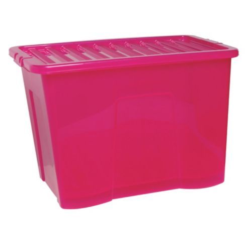 Tesco 80 Litre Plastic Storage Box with Lid Pink Home Fashions