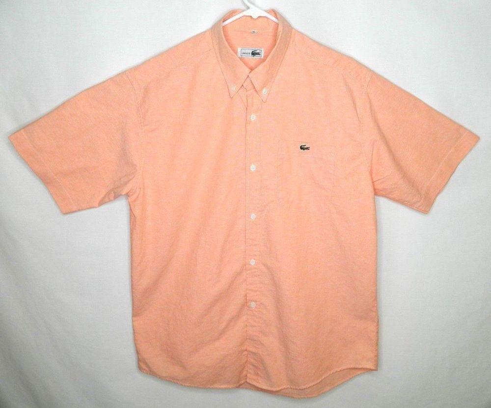 5de5faad Lacoste Mens XL Casual Orange Peach Short Sleeve Button Up Shirt ...