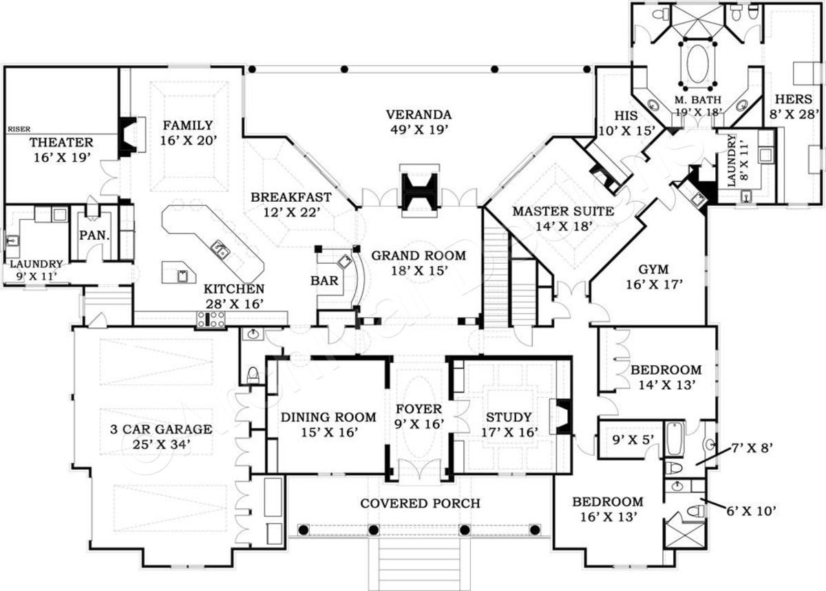 Master bedroom on first floor  LaCrysta Place House Plan  LaCrysta Place House Plan  First Floor