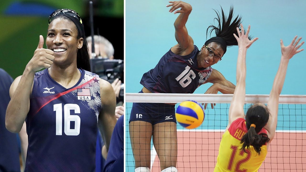 Top 20 Best Volleyball Spikes By Foluke Akinradewo Volleyball Positions Volleyball African Queen