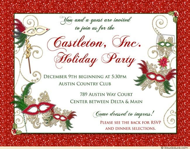 Holiday Masquerade Gala Invitation Christmas Red Event