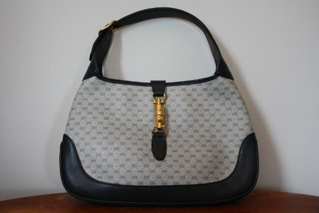 614a7314027e7 Vintage 80's GUCCI navy blue canvas & leather GG monogram Jackie O ...