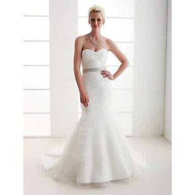 Mermaid / Trumpet Sweetheart Court Train Organza Satin Wedding Dress ...