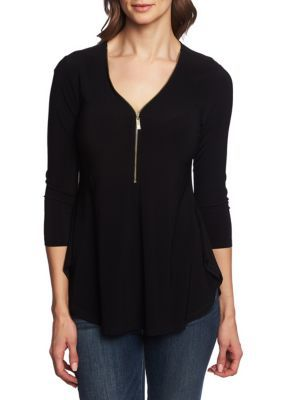 Chaus Women 3/4 Sleeve Zipper Top - Rich Black - M Average #zippertop