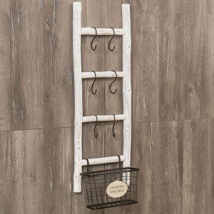 Country Chic Ladder Wall Rack Storage