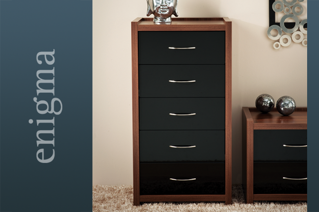 Tobacco walnut with high gloss black and handles Bedroom Furniture