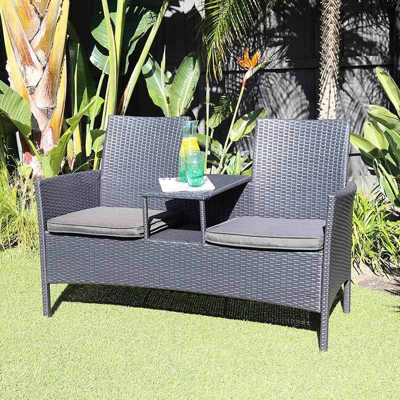 Excalibur Outdoor Living Jack Jill 2 Seat Bench Black Hx73003