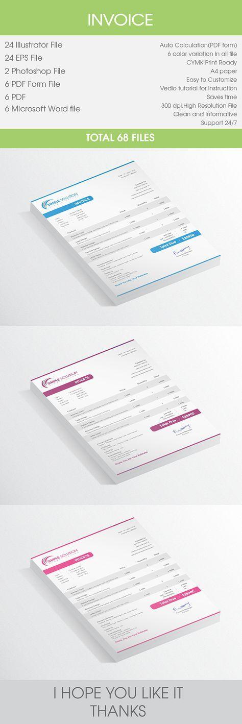 Invoice Design on Behance แบบใบเสนอราคา Pinterest Behance
