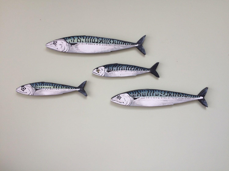 Mackerel fish wall art hangings shoal 4 fish by for Fish wall art