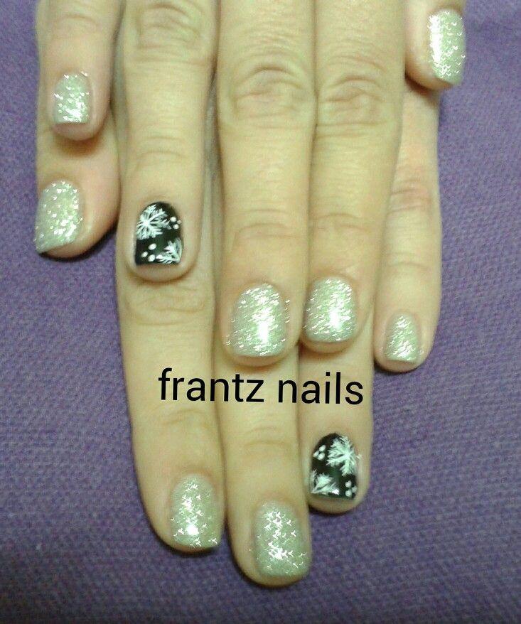 #nails#strass#black#snow#christmass#