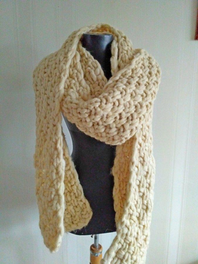 Photo of Scarf Super Chunky Giant Knit scarf wool Arm Knit HandmadeSuper Chunky infinity scarf knit scarf