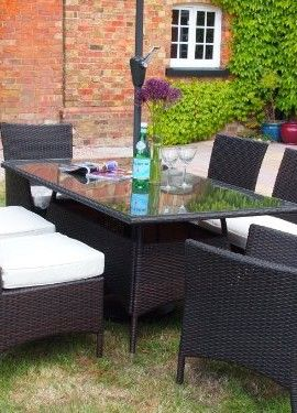 Barcelona Rectangular Brown Rattan Garden Furniture Table And 6 Chairs Dining Set With Free Cover Worth 60 For A Limited Time 0